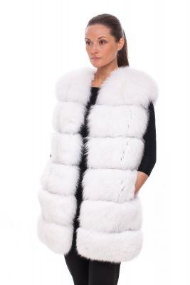 Long Vest of white fox