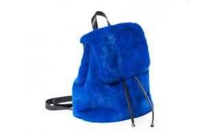 Mink fur backpack in blue
