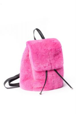 Mink fur backpack in pink