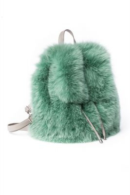 Backpack from fox fur light green