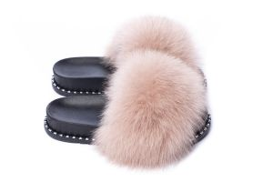Slippers with fox fur beige colour