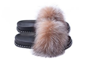 Slippers with fox fur golden blue silver
