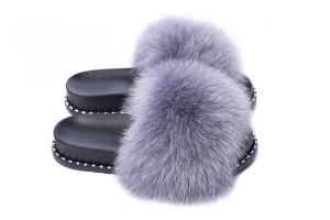 Slippers with fox fur light grey colour