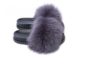 Slippers with fox fur dark grey colour