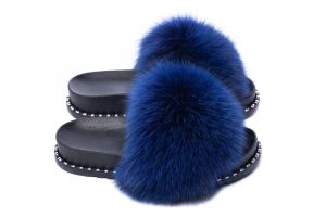 Slippers with fox fur blue