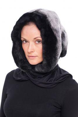 Fur hood REX chinchilla grey