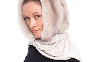 Fur hood REX chinchilla beige