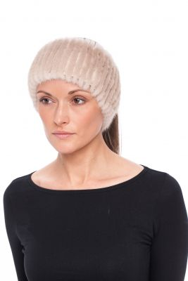 Knitted mink band natural Pearl