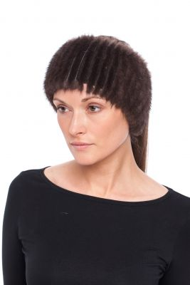 Knitted mink band natural brown