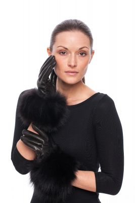 Leather gloves with fox fur black