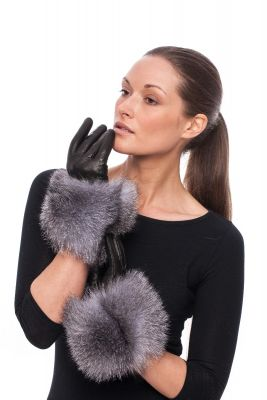 Leather gloves with fox fur Blue silver