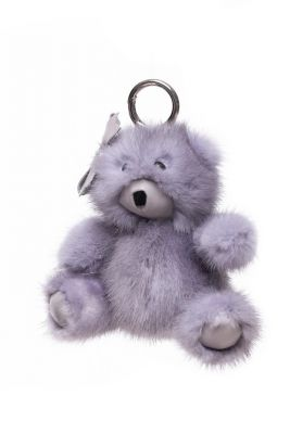 Fur pendant Teddy boy grey