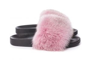 Slippers with fox fur pink