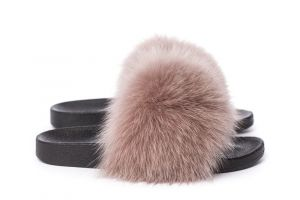 Slippers with fox fur beige