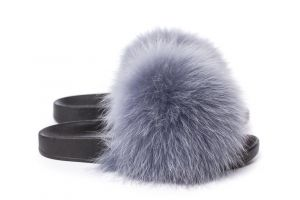 Slippers with fox fur light grey