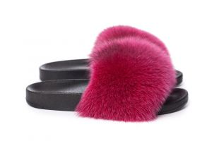 Slippers with fox fur dark pink