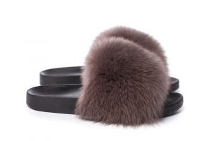 Slippers with fox fur brown