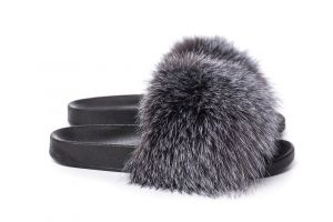 Slippers with fox fur blue silver