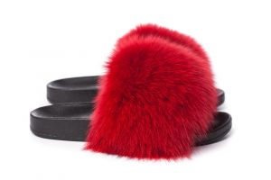 Slippers with fox fur red