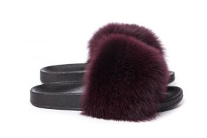 Slippers with fox fur bordeux