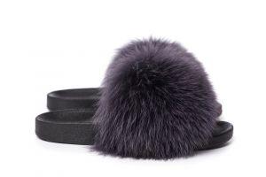 Slippers with fox fur dark grey