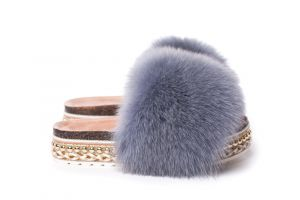 Slippers with fox fur grey
