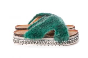Slippers with mink fur green