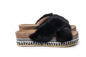Slippers with mink fur