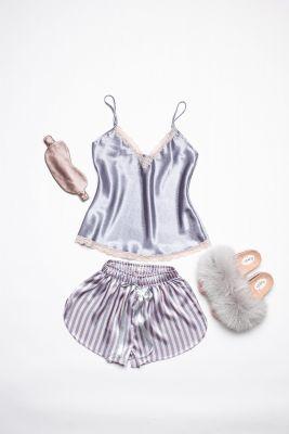Set of pyjamas, slippers and sleeping mask eyes bandage (grey)