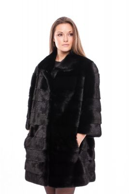 Mink fur coat black