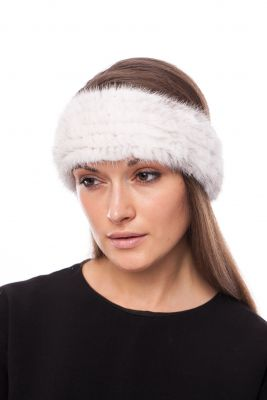 Knitted mink band White