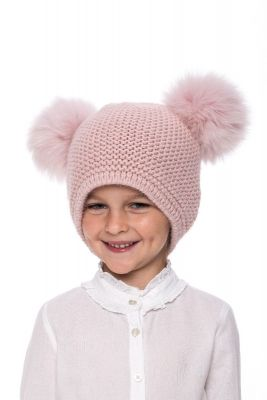 Baby size knitted pink wool hat with pompoms pink