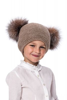 Baby size knitted brown wool hat with pompom raccoon