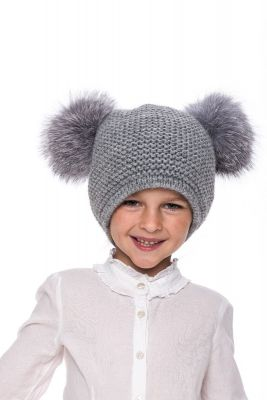 Baby size knitted light grey wool hat with grey fur fox pompom