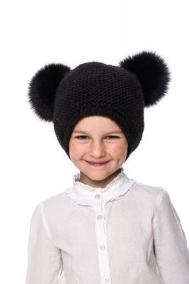 Baby size knitted black wool hat with black fur fox pompoms