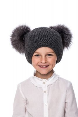 Baby size knitted dark grey wool hat with pompoms grey