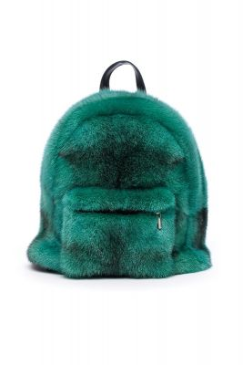 Backpack from mink fur (green)