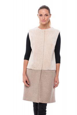 Lamb and textile Vest beige