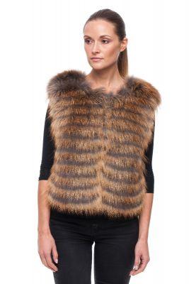 Short vest of gold fox on silk