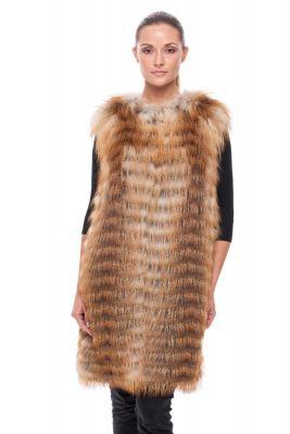 Long Vest of gold fox on silk