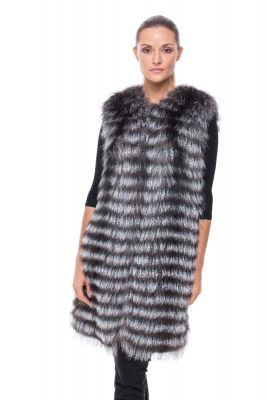 Long Vest of blue silver fox on silk