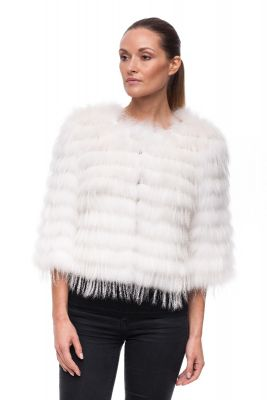 Short jacket of white fox on silk