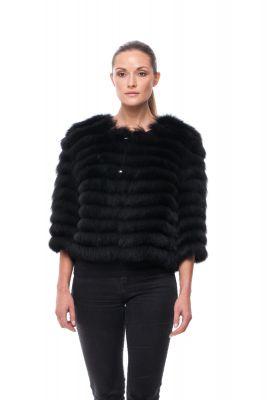 Short jacket of black fox on silk
