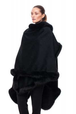 Wool and cashmere poncho black with black fox