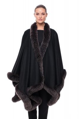 Wool and cashmere poncho black with blue silver fox
