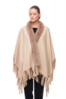 Wool and cashmere poncho beige with beige fox