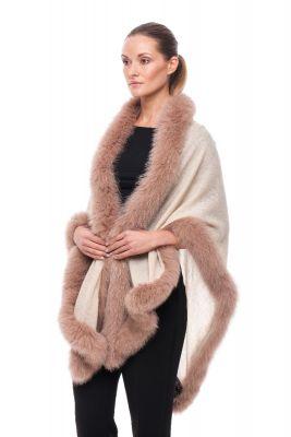 Cashmere shawl beige with fox Beige