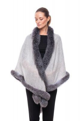 Cashmere shawl grey with fox Blue silver