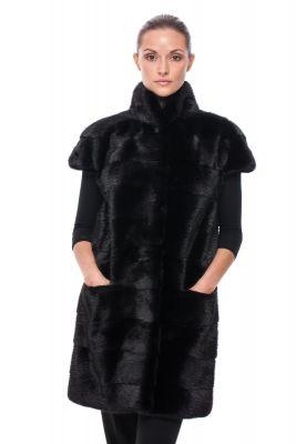 Long Vest of Black mink