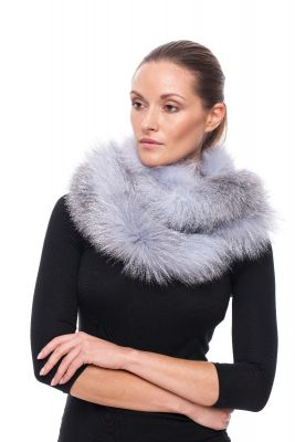 Cashmere double round scarf with blue silver fox